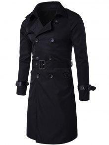 تصميم الكتفية مزدوجة الصدر معطف طويل خندق - أسود Xl