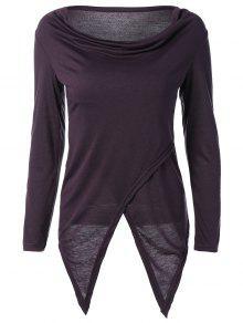 Slit Asymmetric T-Shirt - Purple M