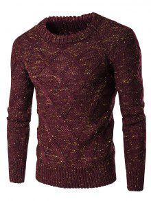 طاقم الرقبة الملونة الملونة تصميم سترة طويلة الأكمام - نبيذ أحمر Xl