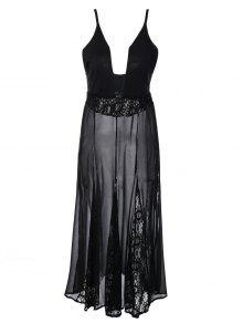 Ver-a Través El Vestido De Encaje Cami - Negro L