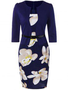 فستان رصاص طباعة الأزهار - الأرجواني الأزرق L