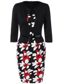 فستان رصاص طباعة الأزهار - أسود Xl