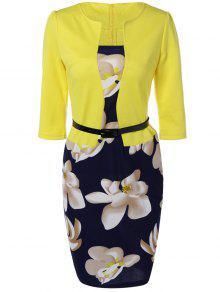 فستان رصاص طباعة الأزهار - الأصفر L