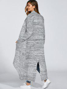 Open Front Maxi Cardigan LIGHT GRAY: Sweaters ONE SIZE   ZAFUL