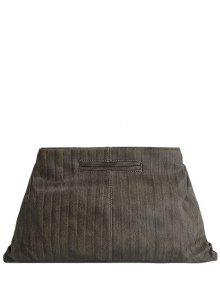 Escuro Cor PU Leather Clutch Bag - Caqui
