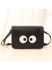 خياطة الكرتون عيون حقيبة كروسبودي - أسود