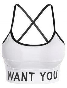 Buy Slim Criss-Cross Padded Strappy Sports Yoga Bra - WHITE L
