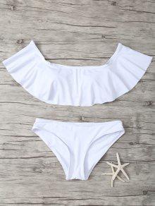 Ruffles Off Shoulder Bikini Swimwear - White S