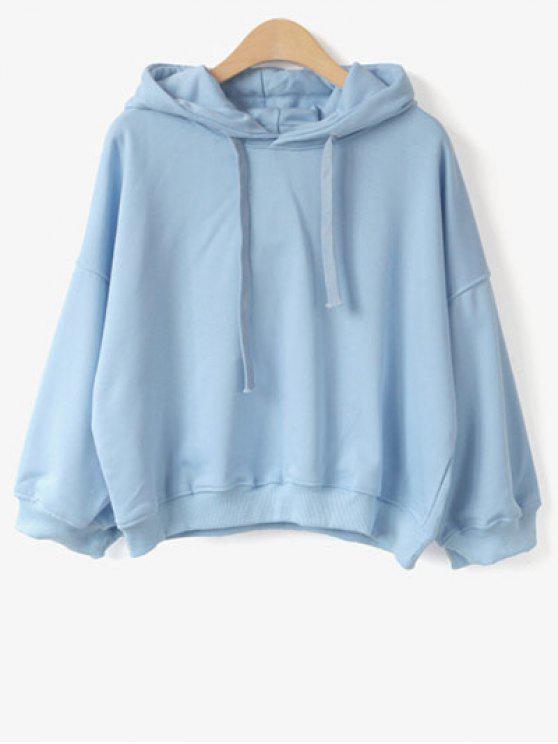 Drawstring Hoodie - Light Blue One Size