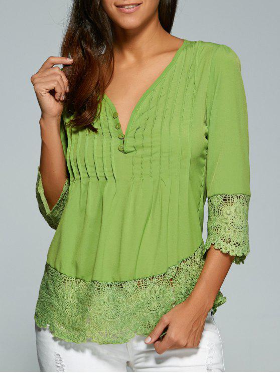 women Scalloped Lace Splicing Blouse - GREEN L