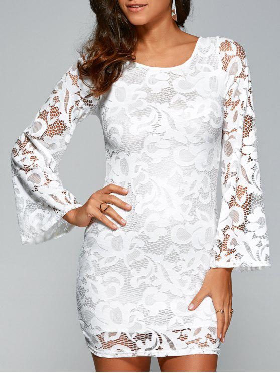 buy Lace-Up Lace Bodycon Dress - WHITE M