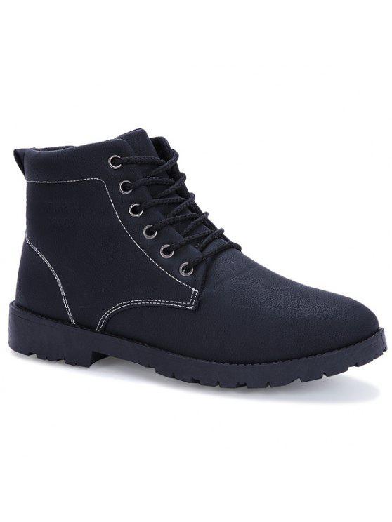 التعادل حتى بو الجلود خمر الأحذية - أسود 44