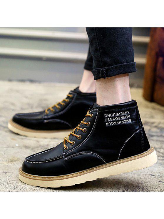 خياطة إلكتروني طباعة الدانتيل يصل أحذية عالية الأعلى - أسود 43