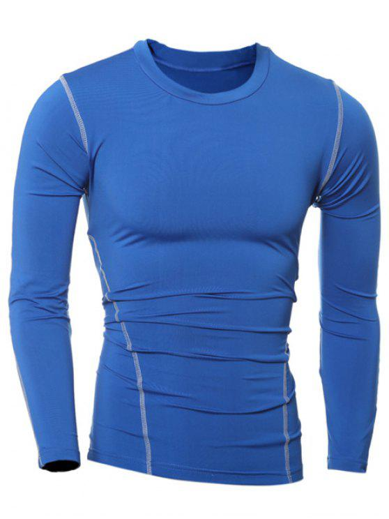 Rodada Slim-Fit Quick-seco Neck T-shirt de manga comprida - Azul L