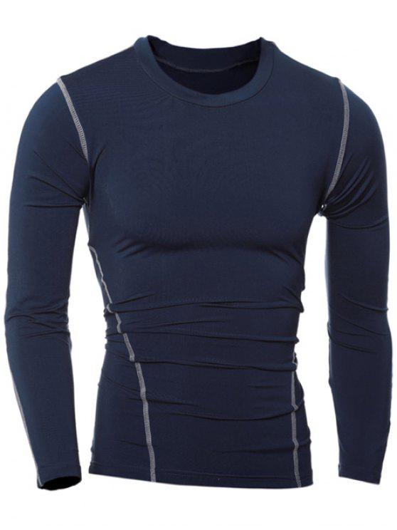 Slim-Fit Quick-Dry col rond T-shirt manches longues - Cadetblue XL