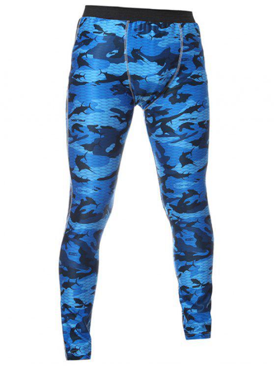 Magro das calças cintura elástica Camo Impresso Ginásio - Azul M