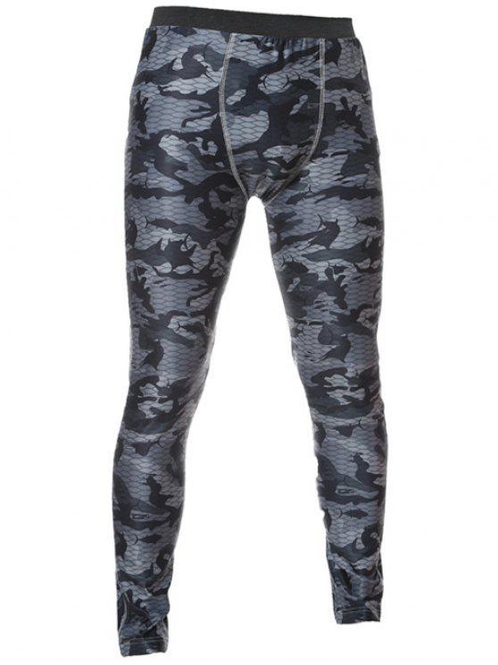 Dünne elastische Taillen-Camo Printed Gym Pants - Grau 2XL