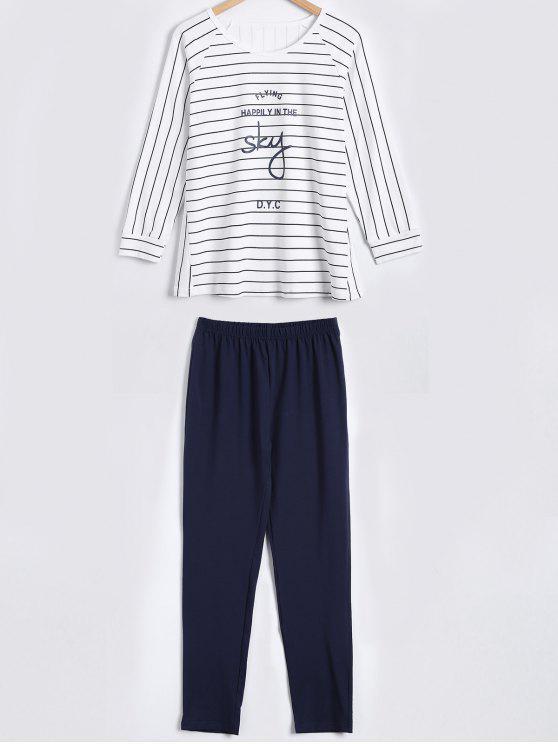 3/4 de las mangas Camiseta a rayas y pantalones ropa de dormir - Blanco L