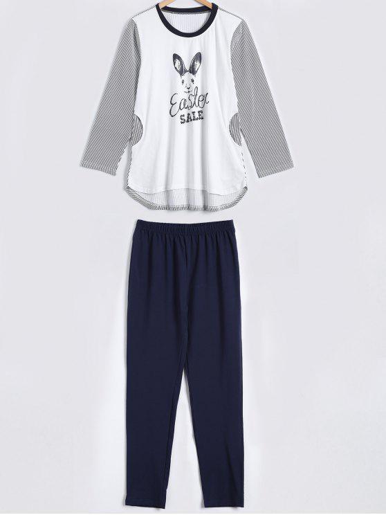 women Striped Bunny Print High Low Sleepwear Sets - WHITE M