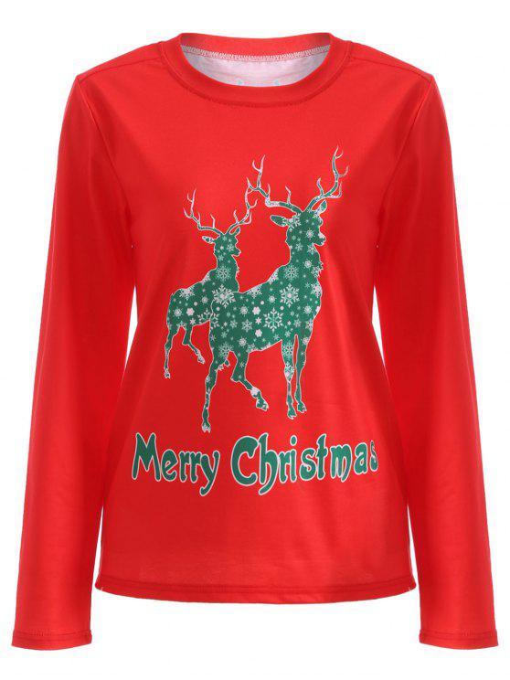 shop Elk Pattern Christmas T-Shirt - RED L