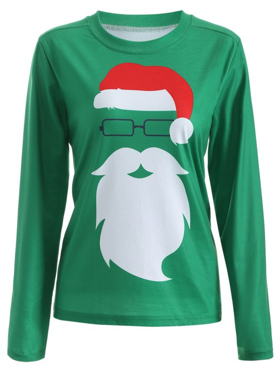 latest Santa Claus Graphic Christmas Long Sleeve T-Shirt - GREEN XL