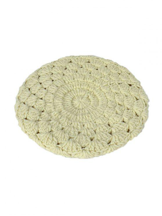 unique Hollow Out Crochet Knit Beret - OFF-WHITE
