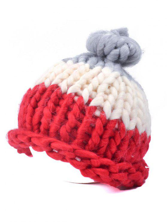 affordable Color Block Coarser Knit Snow Hat - RED