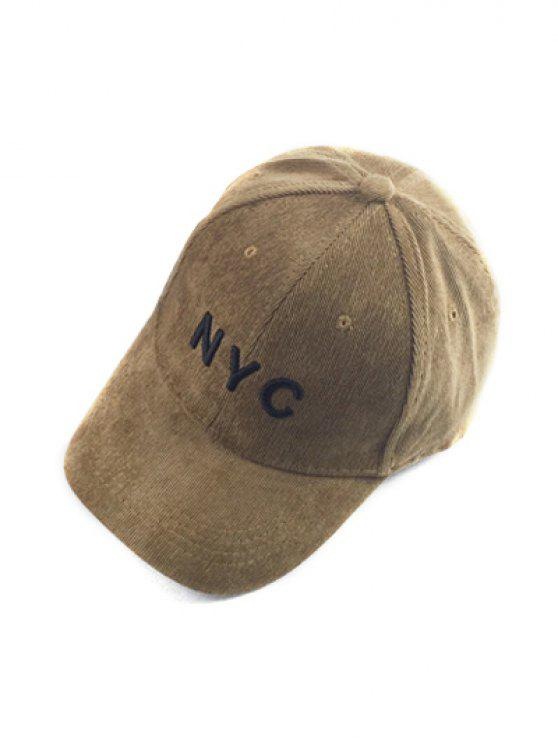 womens Autumn NYC Embroidery Corduroy Baseball Hat - LIGHT COFFEE