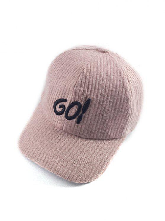 online Autumn GO Embroidery Corduroy Baseball Hat - PINK
