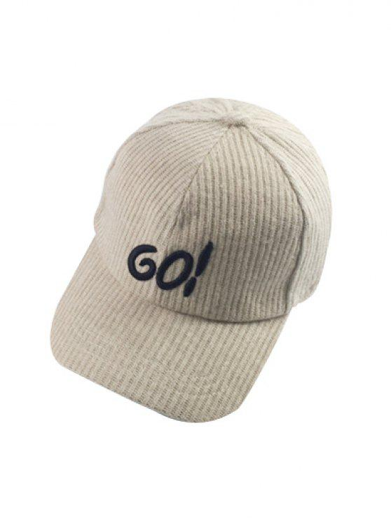 hot Autumn GO Embroidery Corduroy Baseball Hat - OFF-WHITE