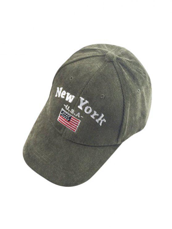 91552fe898c Autumn New York And USA Flag Embroidery Corduroy Baseball Hat - Army Green