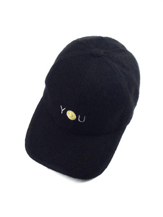 2019 Autumn You Smile Face Embroidery Knit Baseball Hat In Black Zaful