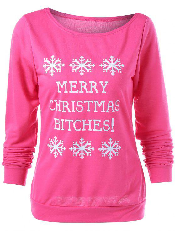 sale Merry Christmas Snowflake Print Sweatshirt - ROSE RED L