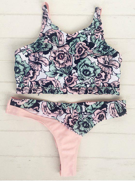 Alta pescoço Pullover Floral Bikini Set - Multicor S