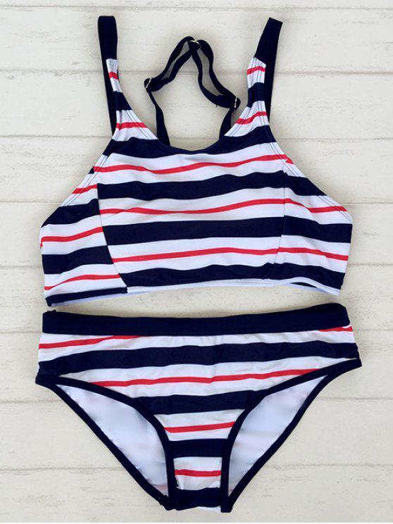 fancy Striped Adjustable Straps Sporty Bikini - STRIPE L