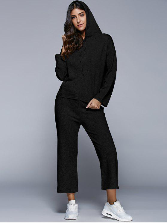 buy Pullover Hoodie With Culotte Pants - BLACK L