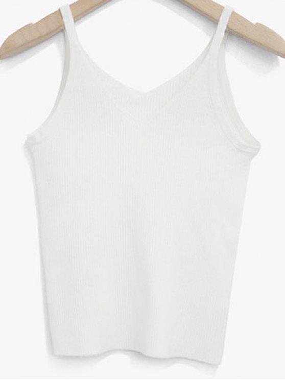 52a9e5d7febfa 32% OFF  2019 Knitted V Neck Tank Top In WHITE