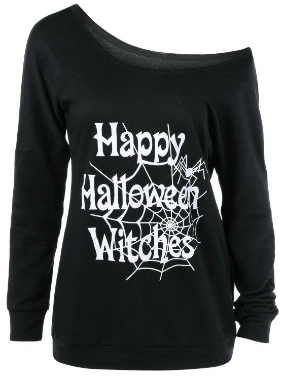 online Skew Collar Happy Halloween Witches T-Shirt - BLACK S