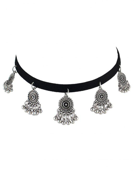 fashion PU Leather Velvet Alloy Circle Choker - SILVER