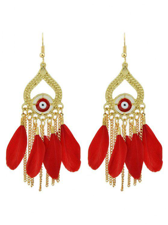new Vintage Feather Water Drop Earrings - RED