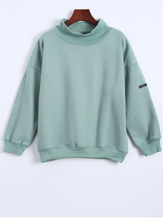 sale Patch Turtle Neck Sweatshirt - LIGHT GREEN ONE SIZE