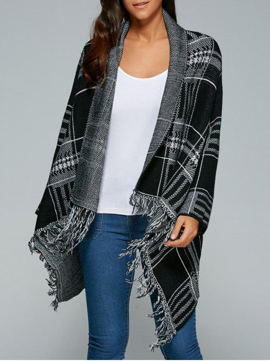 women's Checked Fringed Cape Overcoat - WHITE AND BLACK ONE SIZE