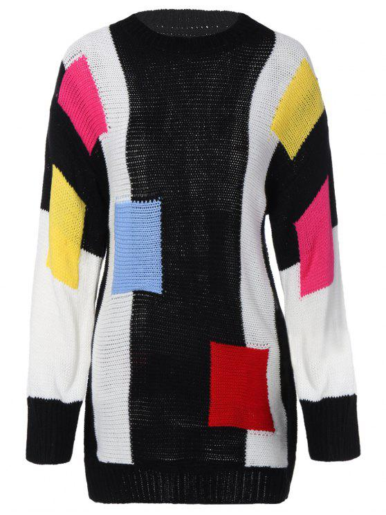 online Color Block Longline Sweater - BLACK ONE SIZE