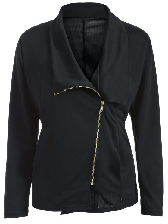 Folded Giacca con zip asimmetrica - Nero XL