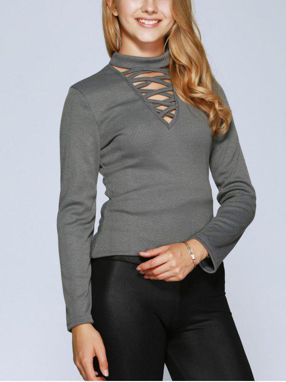 shop Lacing Choker Top - GRAY XL