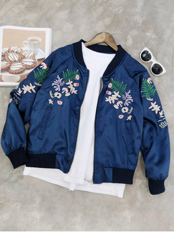 Stand collar floral embroidered jacket blue jackets
