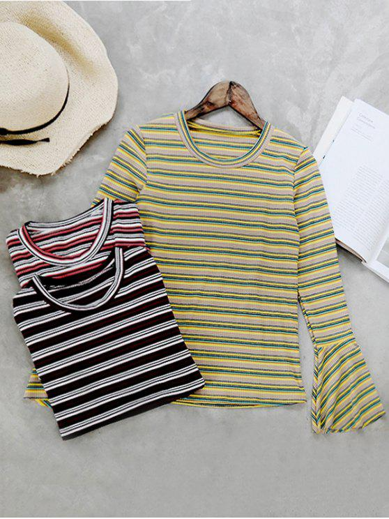 outfits Flare Sleeve Striped Knitwear - YELLOW ONE SIZE