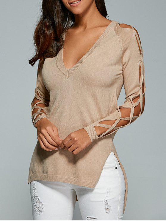 ladies Cutout Sleeve Sweater - NUDE ONE SIZE