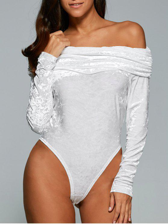 fashion Off The Shoulder Velvet Bodysuit - WHITE S
