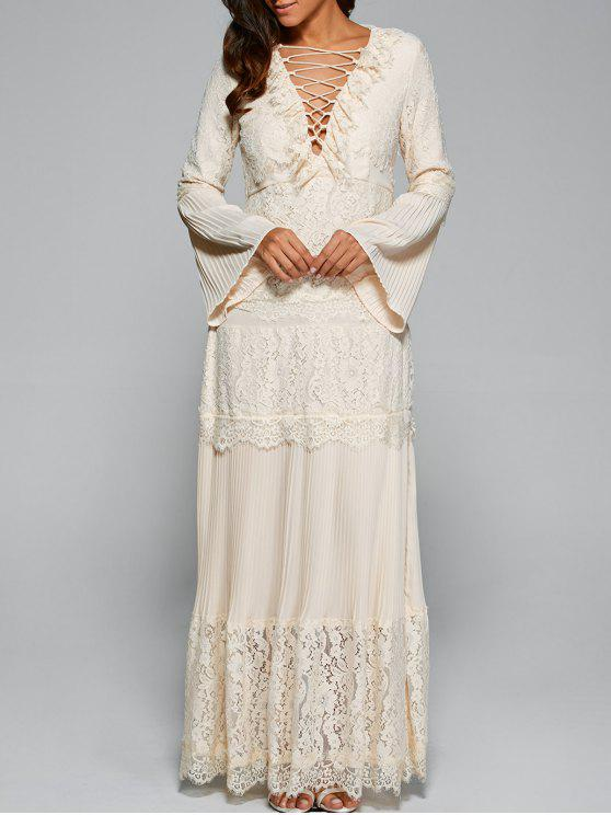 4dad19f2d9 31% OFF] 2019 Bell Sleeve Lace Panel Maxi Dress In APRICOT | ZAFUL